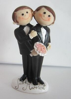 TWO GROOMS Wedding Cake Topper | Gay | Male Same Sex Marriage | Just Married