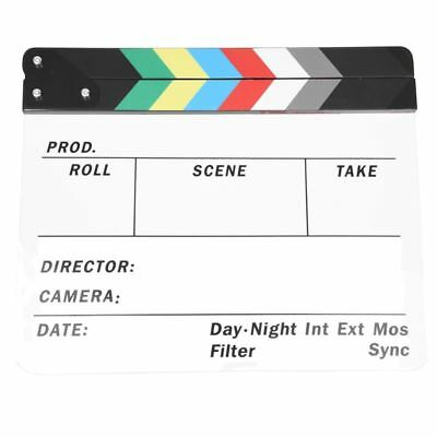 Generic Acrylic Colorful Clapperboard TV Film Movie Slate Cut Role Play Pro B2F9