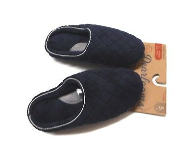 Dearfoams Womens Size Small 5-6 Memory Foam Plush Quilted Blue Slippers New