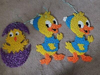 Melted plastic popcorn easter chicks set of 3