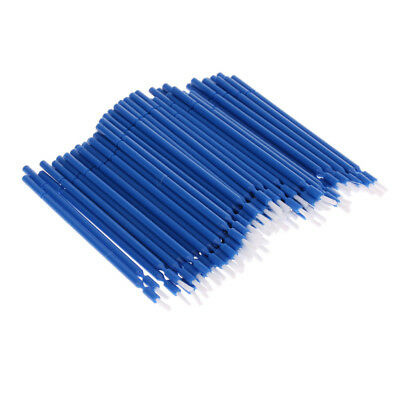 100Pcs Dental Disposable Plastic Micro Tooth Applicator Brush, Flexible Blue