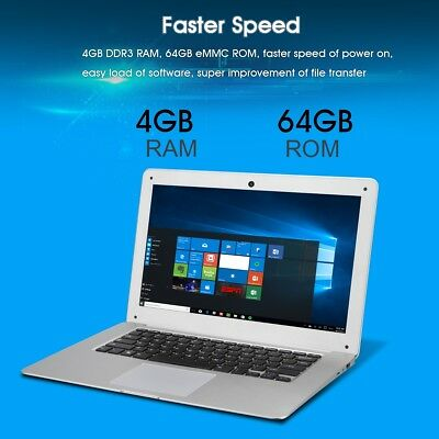 Windows10 14.1''FHD 1920*1080 64G WIFI PC home office Tablet Laptop HDTV USB 3.0