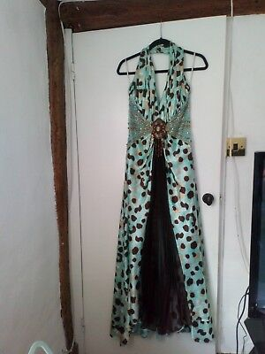 Size 12 Petite Green Cocktail Evening/Occasional Dress Leapord Print Dress