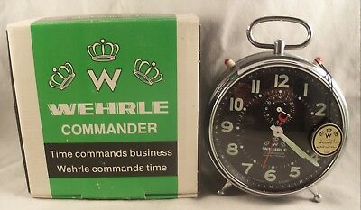 WEHRLE COMMANDER Mantel Alarm Clock Mint In The Box Western Germany ~ Rare Find