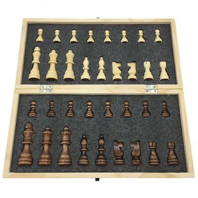 Large Tournament Chess Set PLUS Extra Queens Wooden Folding Storage Box Standard