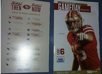 San Francisco 49ers 2018 Official NFL Game 6 Program vs Raiders + Magnetic Sched