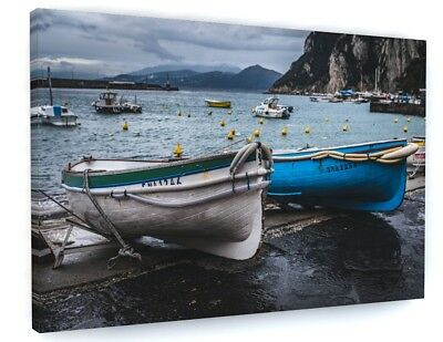 ABSTRACT BEACH SEA FISHING BOAT CANVAS PICTURE PRINT WALL ART #5507
