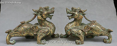 "9"" Chinese Ancient Bronze Ware Gild Dragon Pixiu Brave troops Beast Statue Pair"