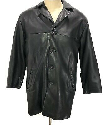 MARK SHALE Genuine Lambskin Leather Button Front Coat Jacket Men's Size Small