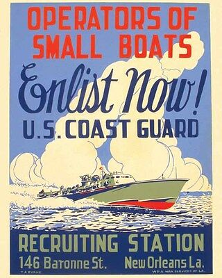 Vintage Recruiting  POSTER  Rare    WW2      US COAST GUARD    New Orleans LA