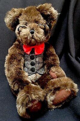 """HALLMARK 13"""" Plush Brown Teddy Bear With Bow Tie Vest Glasses Movable Arms Legs"""