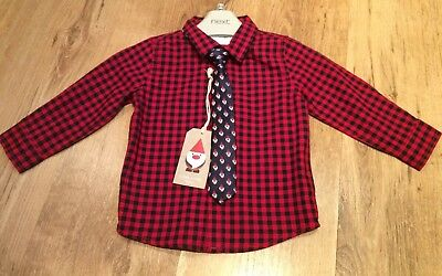 Boys Next Shirt And Christmas Tie 9-12 Months Bnwt (shirt Can Be Worn All Year)