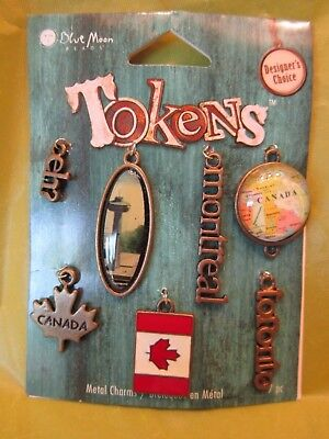 7 Token Charms From Canada Souvenir On Original Display Card Toronto Montreal
