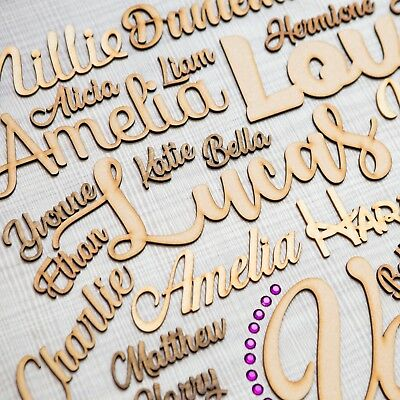 ANY FONT Personalised wooden script name plaque sign | Wedding Place Names MDF