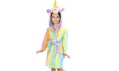 UK FREE DELIVERY Unicorn Bathrobe Dressing Gown Pyjamas PJs Soft Kids Girls Boys