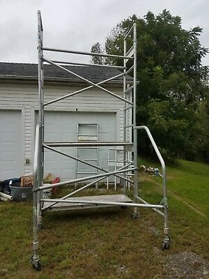 Werner Aldek 4100 Series Narrow Span Scaffold Tower 24' High 2 Deck Excellent!!!