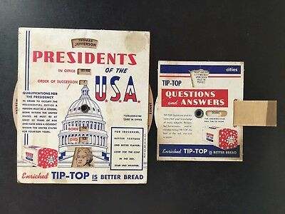 Vintage Tip-Top Bread,Questions & Answers Cities and Presidents Of The U.S.A.