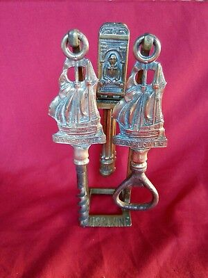 EARLY 20thC BRASS SHAKESPEARE NUTCRACKERS & MAYFLOWER CORKSCREW & OPENER