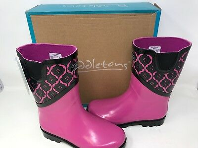 Puddletons Muck Style Girl/'s Cozy Classic Snow Boots Pink Plaid Big Kids Youth 7