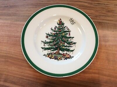 SPODE Christmas Tree SALAD PLATES - MADE in ENGLAND - S3324 Black Backstamp