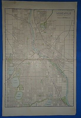 Vintage 1909 LARGE MINNEAPOLIS Map Old Antique Original Atlas Map 111318