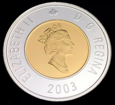 2003 Canada $2 Toonie Silver Proof with 24k Gold Plated (961)