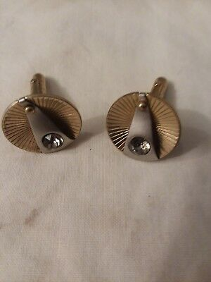 Vintage Men's Brass Cufflinks Gold Tone With Silver Tone And Clear Stone