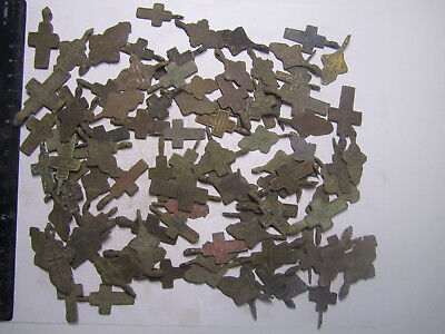 Metal detector finds.Mix lot  ancient crosses (The age of 17-19)100 pieces. N1