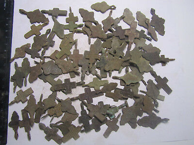 Metal detector finds.Mix lot  ancient crosses (The age of 17-19)100 pieces. N2