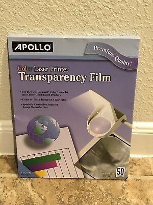 Apollo Color Laser Printer QuickDry Transparency Film Clear Projector Pack 50