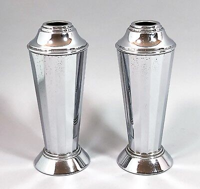 Art Deco pair 2 chrome vases pedestal bases faceted panelled retro 20 cm vintage