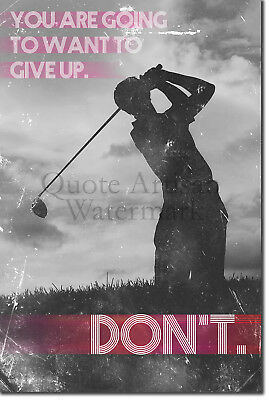 "Golf Motivational Poster 02 ""DON'T give up..."" Art Print Motivation Quote"