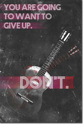 "Guitar Motivation 04 ""DON'T give up."" Poster Art Print Motivational Quote"
