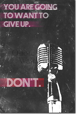"Singing Motivational Poster 07 ""DON'T give up."" Art Print Motivation Quote Gift"