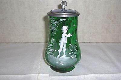 Mary Gregory Lidded Ladies Glass Stein, Inverted Thumbprint, Emerald Green, 1880