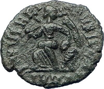 ARCADIUS 383AD Authentic  Ancient Roman Coin VICTORY w Trophy, captive i73687