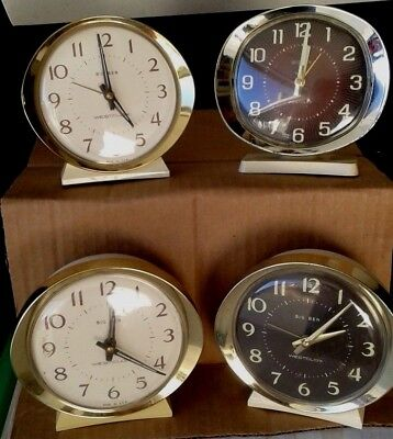 Vintage Lot of 4 WESTCLOX BIG BEN WIND UP ALARM CLOCK White and Gold