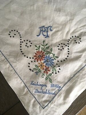 Antique Handmade Signed Embroidered Tablecloth Laichingen Germany