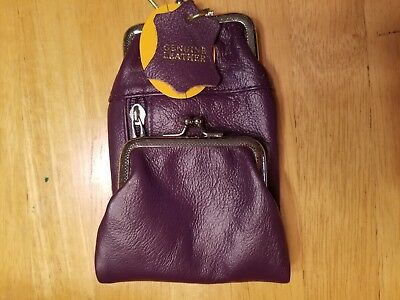 Genuine Leather Purple 120's Cigarette Zip And Snap Case Coin Purse