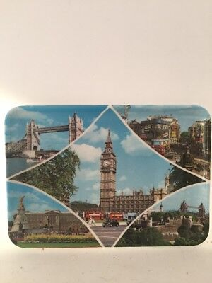 Vintage PAVO 70's Scenes of London Melamine Souvenir Tray 4x6 MADE IN ITALY