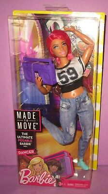 Barbie 2018 Curvy Dancer Made To Move MTM Pink Hair Boombox Doll New In Box!