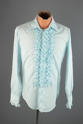 Vtg Men's 1960s 1970s After Six Ruffled Blue Tuxedo Shirt sz S 14x34 #4294 Tux