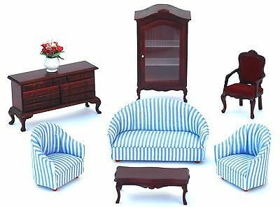 Wooden Mahogany Living Room Doll House Furniture Set