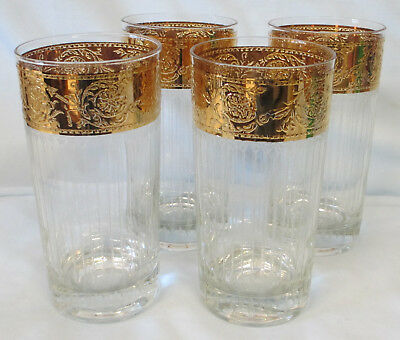 Culver Gold Tyrol Highball Tumbler Mid Century Mad Men Set of 4
