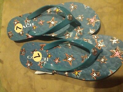 a771d536454 NEW Women s Coach Blue Abbigail Star Rubber Thong Flip Flops size 7