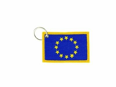 Porte cle cles clef brode patch ecusson badge drapeau europe europeen ue cee