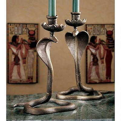 Set of 2 Egyptian Sacred Serpent Snake Cobra Uraeus Candlesticks cast Iron made