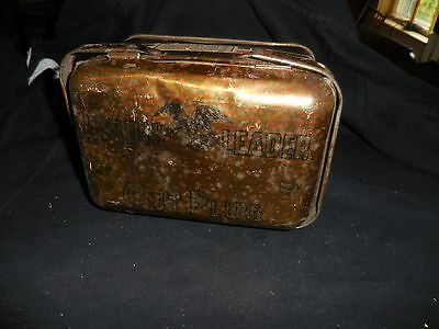 """Vintage Union Leader Tobacco Tin 7"""" X 4 1/2"""" X 4"""" Tall EMPTY! Lunch Pail Wicker"""