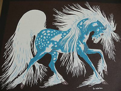 Woody Crumbo Serigraph Silk Screen 1912 - 1985 Spirit Horse  8 x 6.5 inches