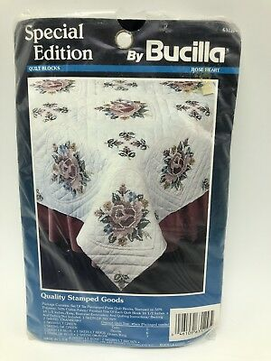 Bucilla Special Edition Quilt Block Rose Heart Stamped Craft Kit 63129